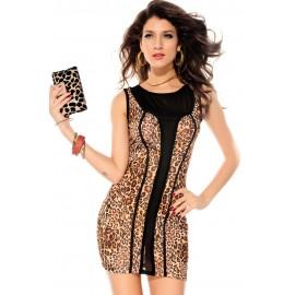 Leopard Mesh Accent Luxe Mini Dress