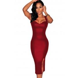 Burgundy Red Faux Leather Key Hole Back Padded Midi Dress