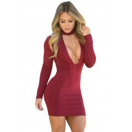 Burgundy High Neck V Plunge Bodycon Mini Dress