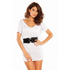 Cap Sleeve Mini Dress Drawstring Neckline With Belt set White
