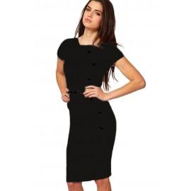 Casual Cap Sleeves Black Midi Dress