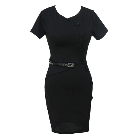 Casual Cap Sleeves Black Midi Dress