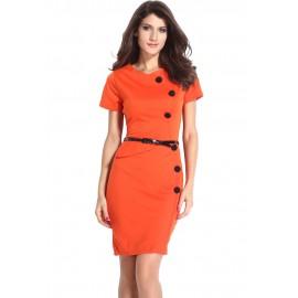Sleeves Orange Midi Dress
