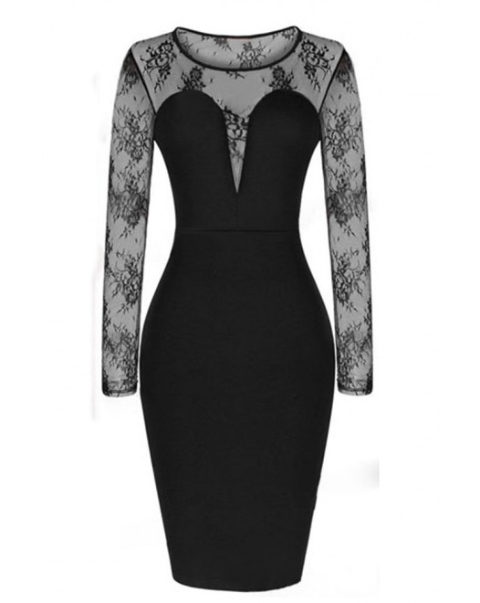 Celebrity Mesh Long Sleeve Midi Party Bodycon Dress