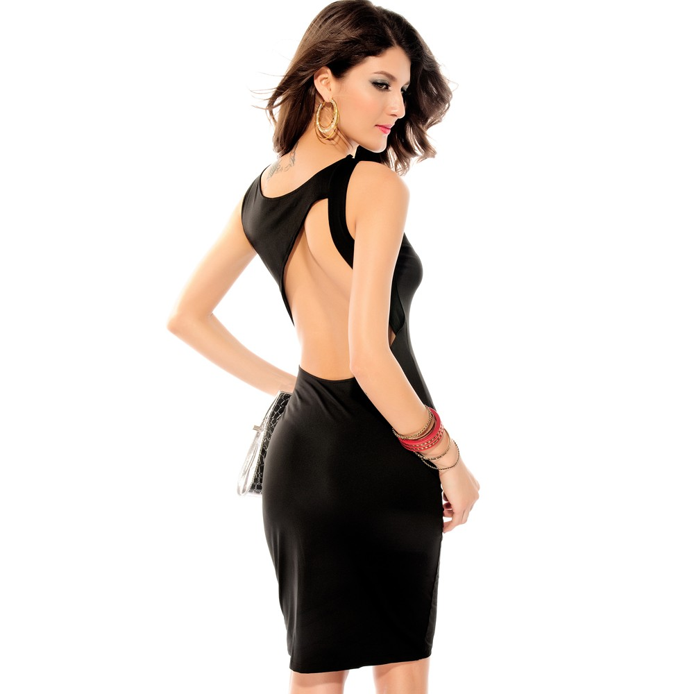 Charlie Cut Out Back Midi Dress Black