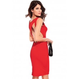 Charlie Cut Out Back Midi Dress Red