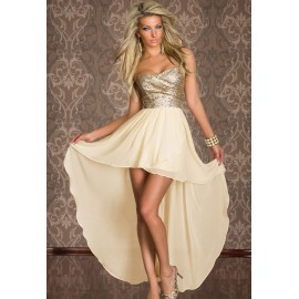 Charming Boulevard Sequined Long High Low Dress Beige