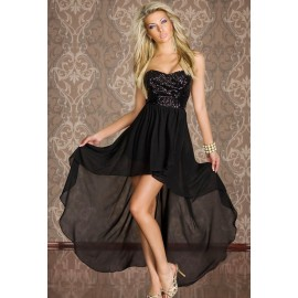 Charming Sequined Long Dress Black