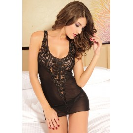 Black Stretch Mesh Nightie Chemise Lingerie With G-String