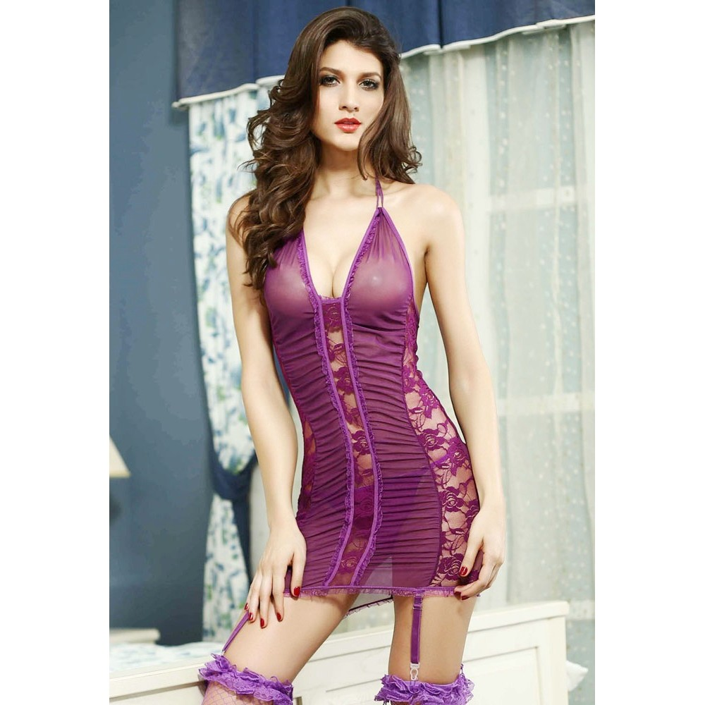 Electric Lace and Mesh Chemise with Garter Purple