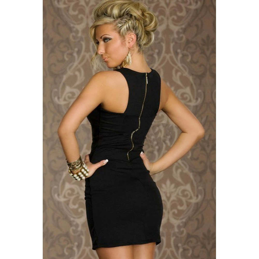 Chest Hollow out Crew Neck Fashion Bodycon Mini Dress Black