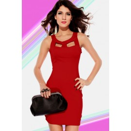 Hollow Out Crew Neck Mini Dress Red