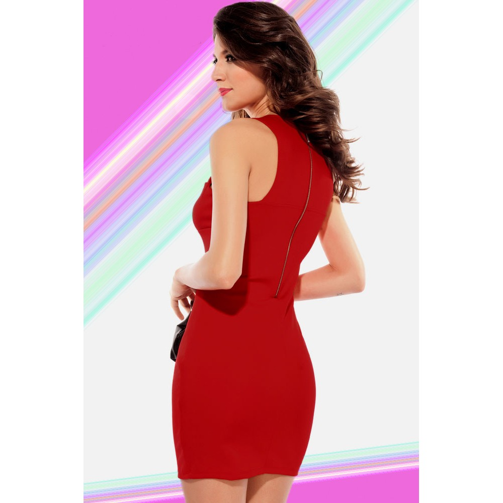 Chest Hollow out Crew Neck Fashion Bodycon Mini Dress Red