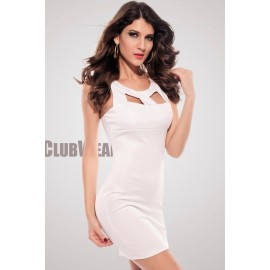 Chest Hollow out Crew Neck Fashion Bodycon Mini Dress White