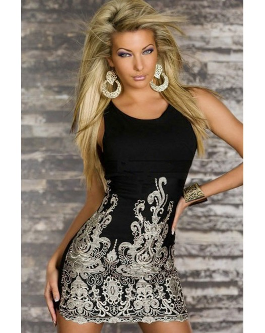 Chic Gold Embroidered Lace Tank Mini Dress Black