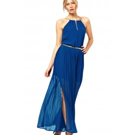 Blue Chiffon Gold Chain Belt Maxi Dress