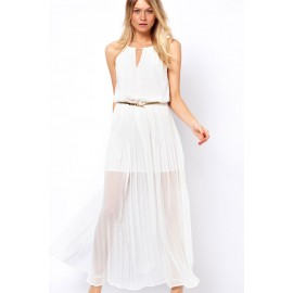 White Chiffon Gold Chain Maxi Dress