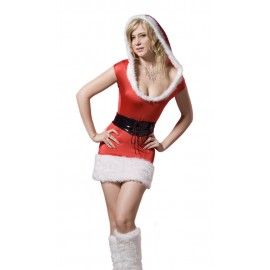 Christmas Costume Fur Night Club Santa Mini Dress