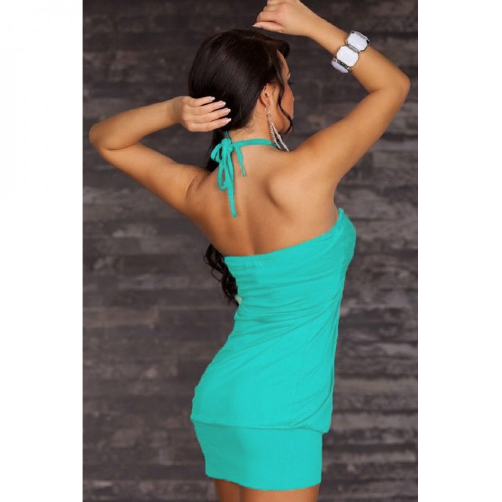 Bewitching Halter Bandeau Club Dress Blue