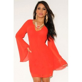 Zipper Back Mesh Accent Club Mini Dress Red