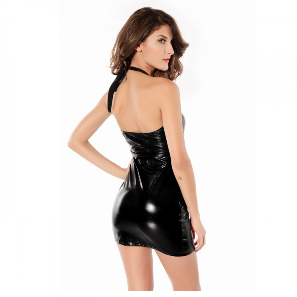 Daring Wetlook Clubwear Halter Style Silhouette Mini Dress