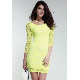 Neon Green Cut Out Lace Cocktail Dress