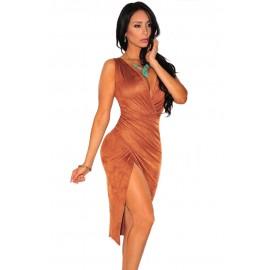 Cocoa Brown Faux Suede Wrap Slit Party Midi Dress