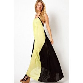Fluid Shape Unrestrained Leisure Color Blocked Maxi Dress