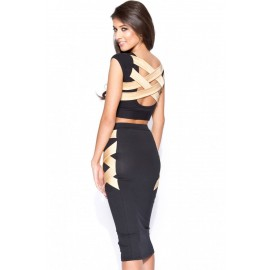 Colorful Neon Straps Crop Top With High Waist Pencil Skirt Set