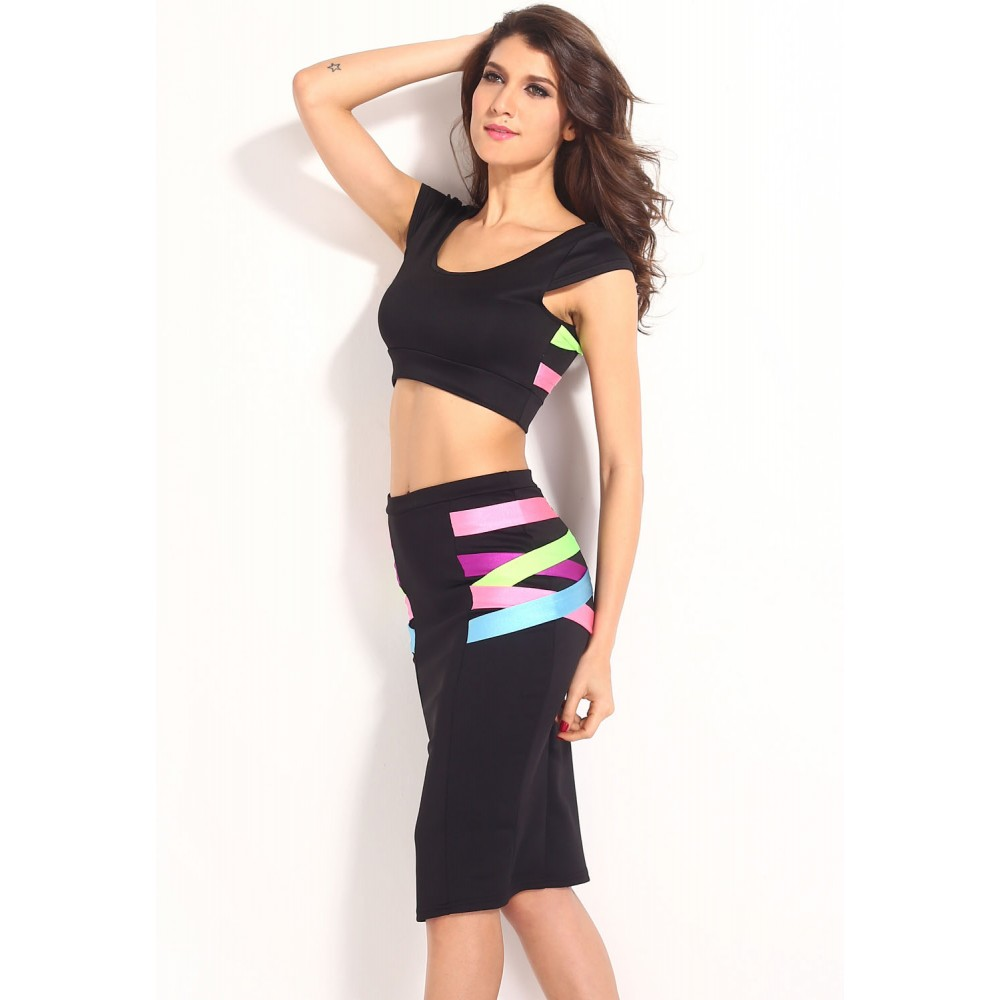 colorful mix neon straps crop top with high waist pencil