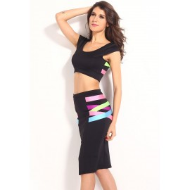 Mix Straps Crop Top High Waist Skirt Set