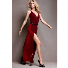 Scarlet Red Contrasting Maxi Dress