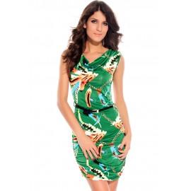 Chains Cowl Neck Mini Dress Green