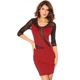 Scoop Mesh Sleeves Midi Dress Red
