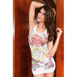 Edial Tattoo Destroyed Pattern Painted Top Mini Dress White