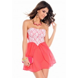Dipped Waist Kelly Lace Overlay Club Mini Dress