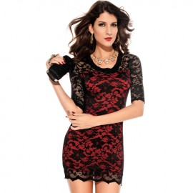 Elegant Precious Lace Evening Dress Black And Red
