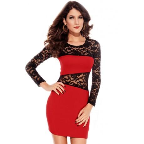 Amanda O-Neck Lace Insert Mini Dress Red