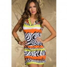 Novelty Zebra Stone Casual Dress with Belt Orange