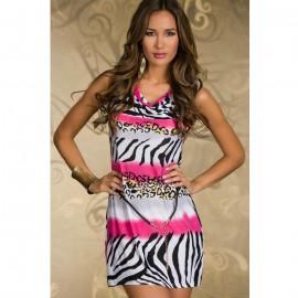 Novelty Zebra Stone Casual Dress with Belt Roseo