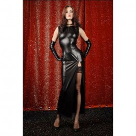 Attractive Long Faux Leather Evening Dress with Gloves