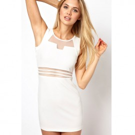 Bodycon Mini Dress with Mesh Insert White