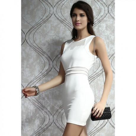 Bodycon Mini Dress with Mesh Insert White
