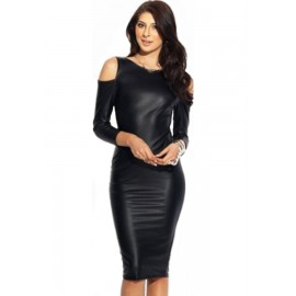 Drop Shoulder Scoop Back Leather Midi Party Dress
