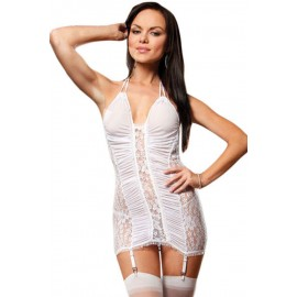 Electric Lace Chemise Garter White