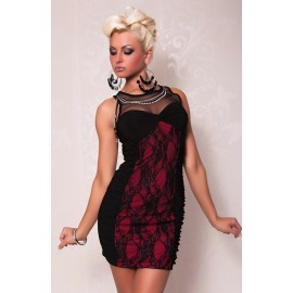 Elegant Evening Club Dress Top Lace Black And Red