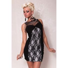 Elegant Evening Lace Dress Black White
