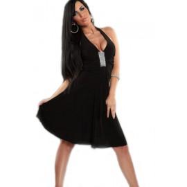 Elegant Halter Rhinestone Look Evening Dress Black