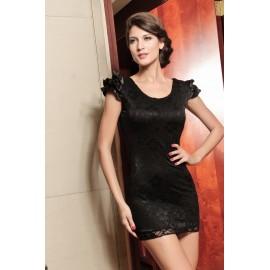 Elegant Evening Dress With Lace Satin Black