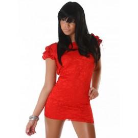 Lace Satin Red Elegant Evening Dress